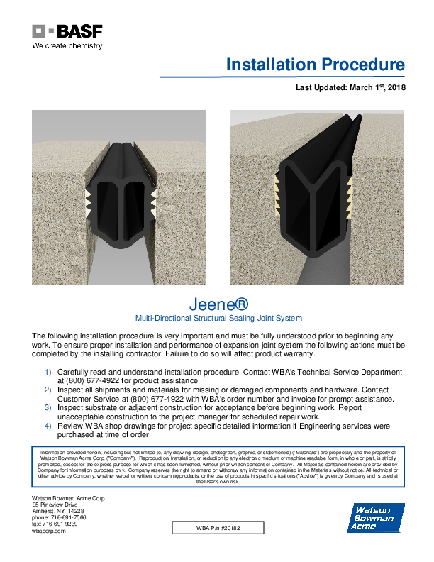Jeene® (FW, W) Installation Procedure Cover
