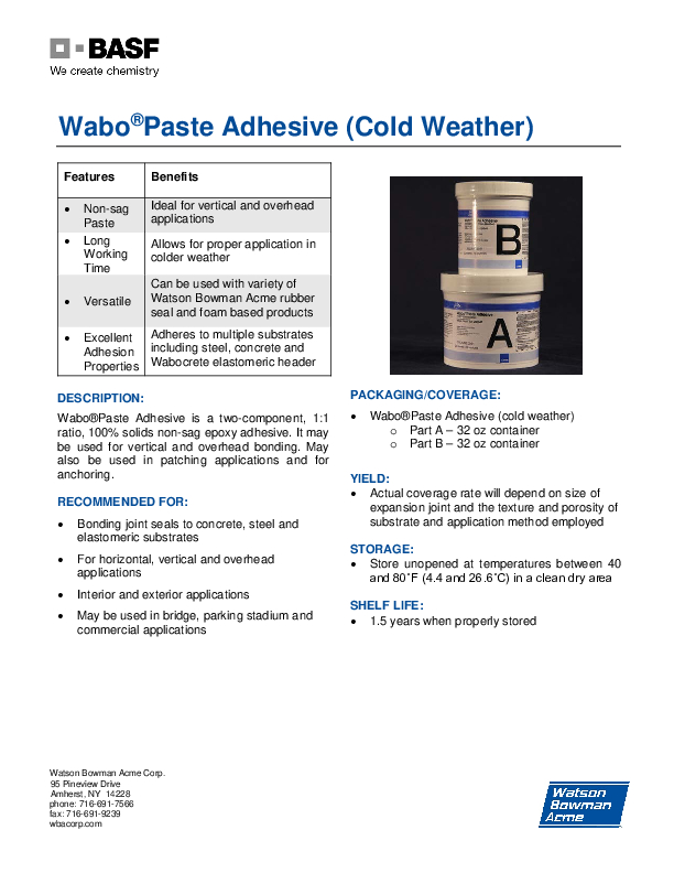 Wabo®PasteAdhesive (Cold Weather) Technical Data Sheet Cover
