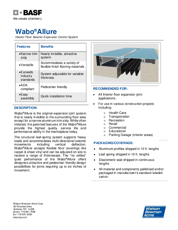 Wabo®Allure (AFJ) Technical Data Sheet Cover