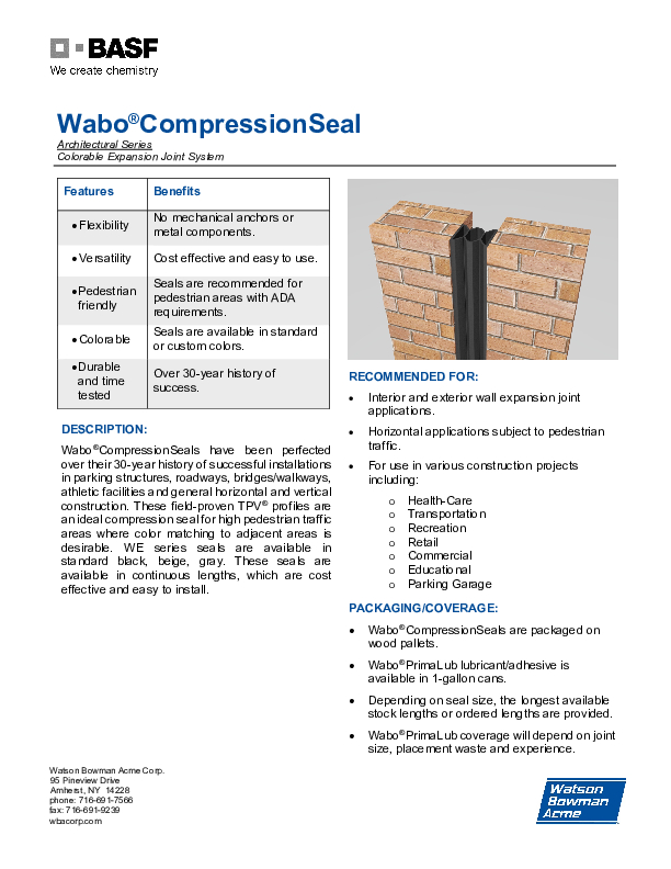 Wabo®CompressionSeal Wall (WE) Technical Data Sheet Cover