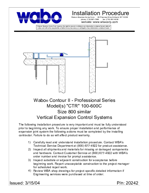 Wabo®ContourII (CTR-100C-600C) Installation Procedure Cover