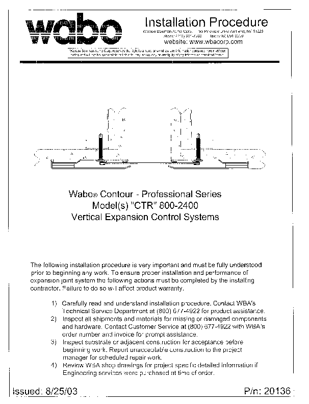 Wabo®ContourII (CTR-800-2400) Installation Procedure Cover