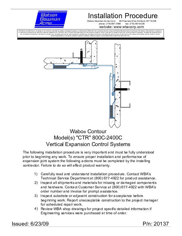 Wabo®ContourII (CTR-800C-2400C) Installation Procedure Cover
