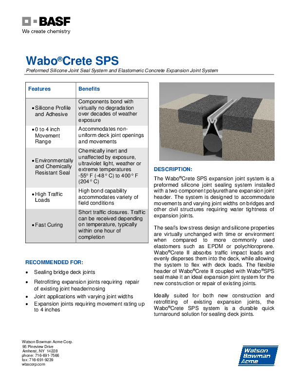 Wabo®Crete SPS Technical Data Sheet Cover