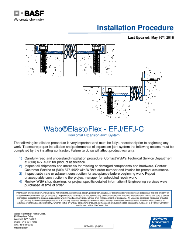 Wabo®ElastoFlex - Parking (EFJ, EFJC) Installation Procedure Cover