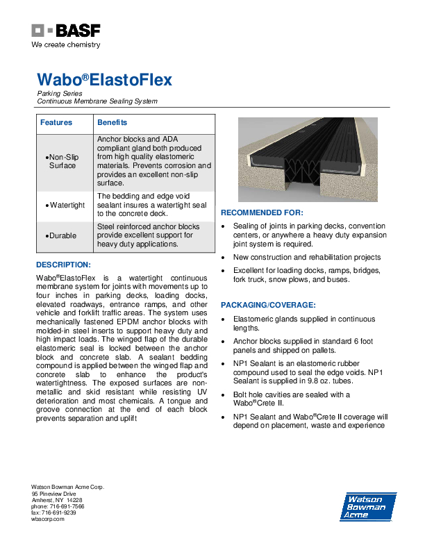 Wabo®ElastoFlex (EFJ) Technical Data Sheet Cover