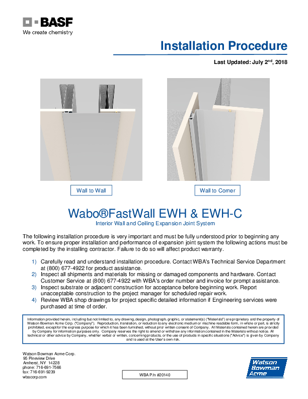 Wabo®FastWall (EWH) Installation Procedure Cover