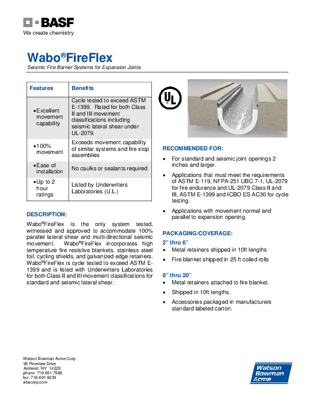Wabo®FireFlex (VFF, HFF, HFW) Technical Data Sheet Cover