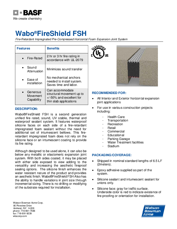 Wabo®FireShield (FSH) Technical Data Sheet Cover