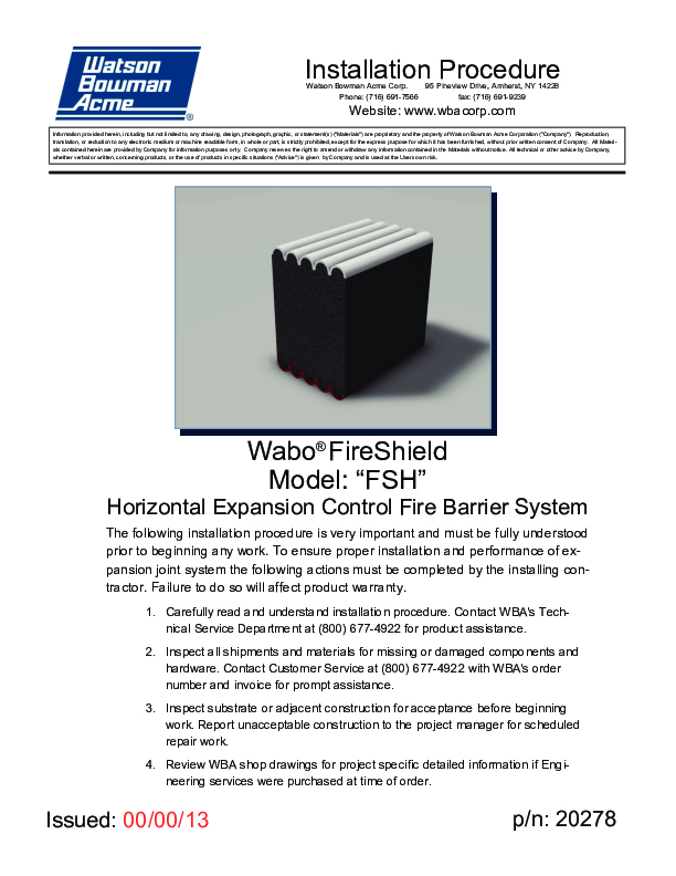Wabo®FireShield Horizontal (FSH) Installation Procedure Cover