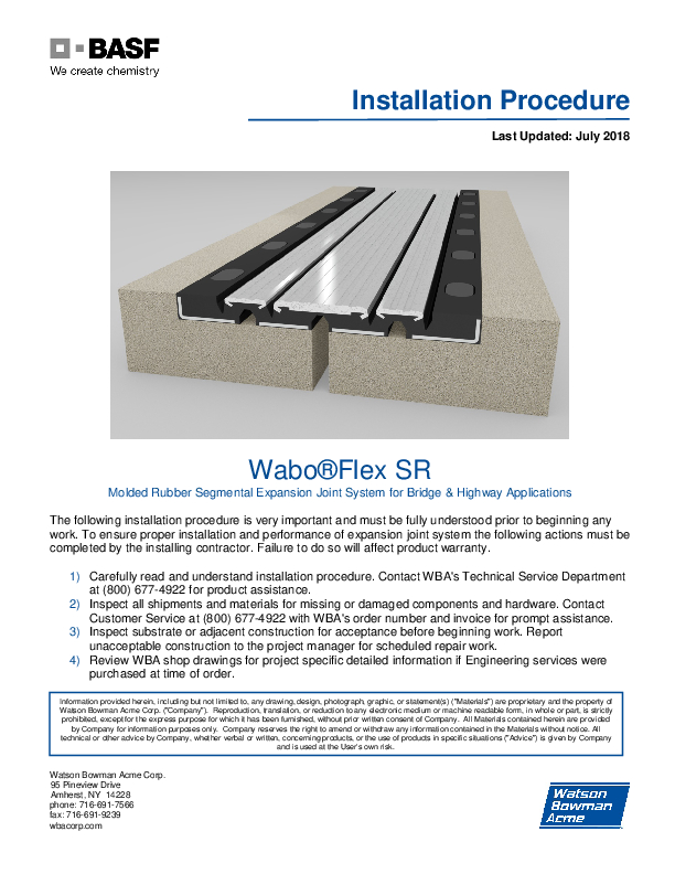 Wabo®Flex SR Installation Procedure Cover