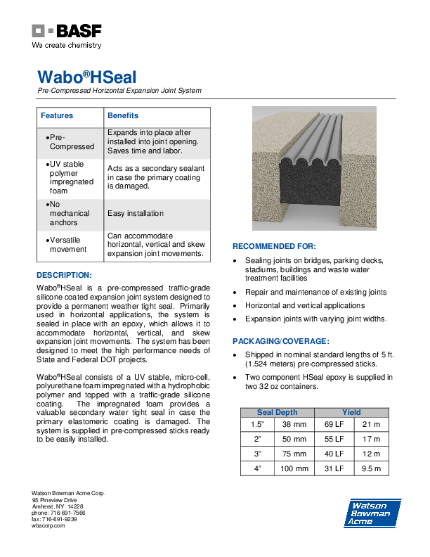 Wabo®HSeal (EH) Technical Data Sheet Cover
