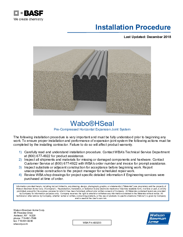 Wabo®HSeal (EH) Installation Procedure Cover