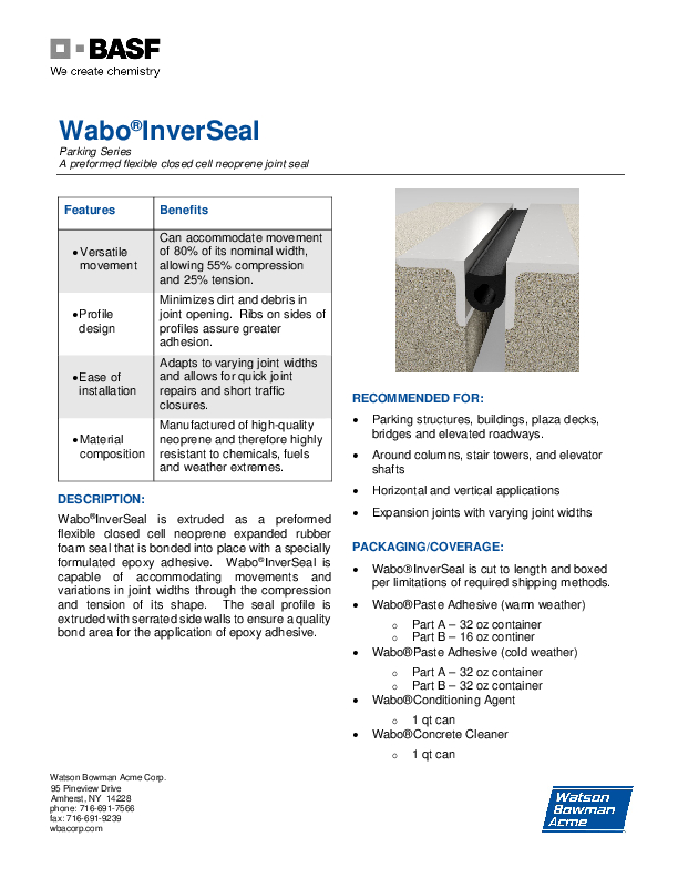 Wabo®InverSeal (IV) Technical Data Sheet Cover