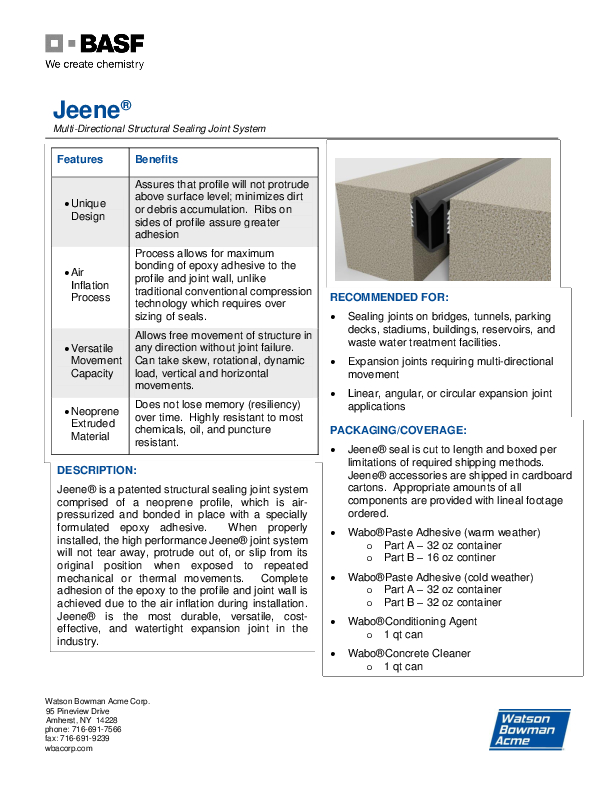 Jeene® (FW, W) Technical Data Sheet Cover