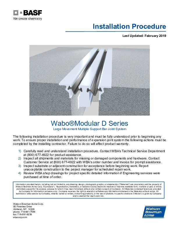 Wabo®Modular (STM & D Series) Installation Procedure Cover