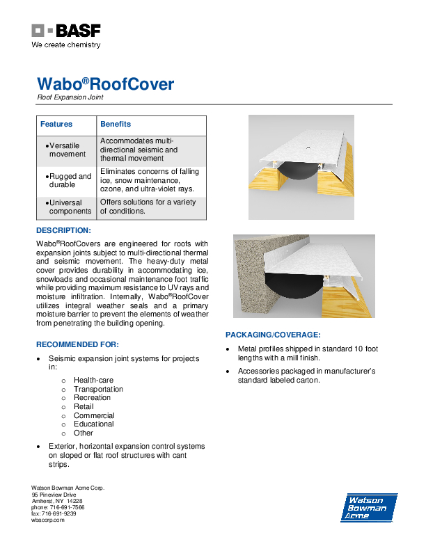 Wabo®RoofCover (RFC, RFL) Technical Data Sheet Cover