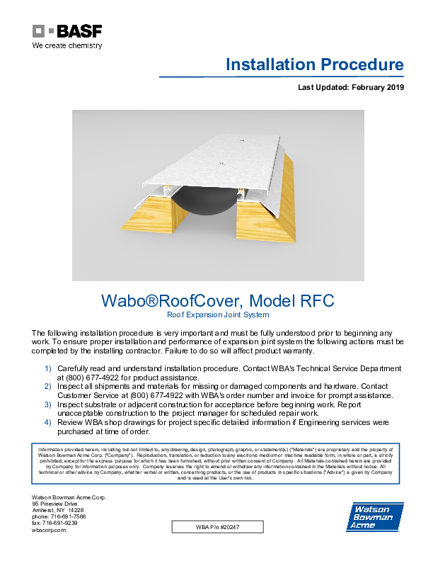 Wabo®RoofCover (RFC, RFL) Installation Procedure Cover