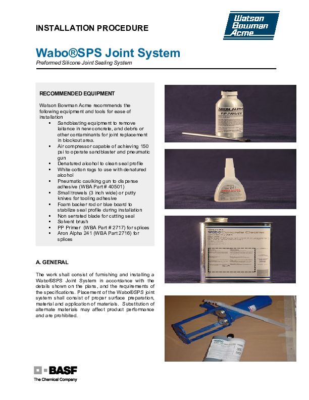 Wabo®SPS - Bridge Installation Procedure Cover