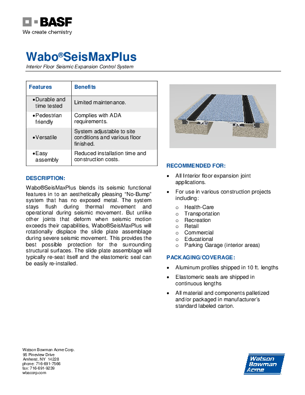 Wabo®SeisMax Plus Floor (NBS) Technical Data Sheet Cover