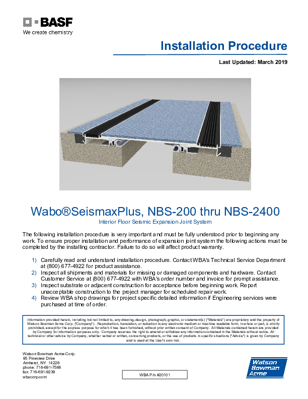 Wabo®SeisMax Plus Floor (NBS) Installation Procedure Cover