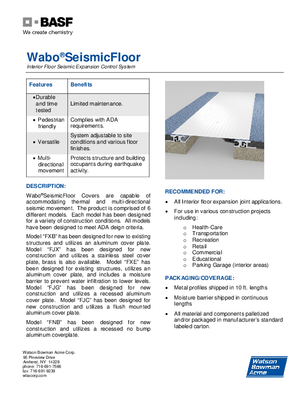 Wabo®SeismicFloor (FJC, FJG, FJX, FNB, FXB, FXE) Technical Data Sheet Cover