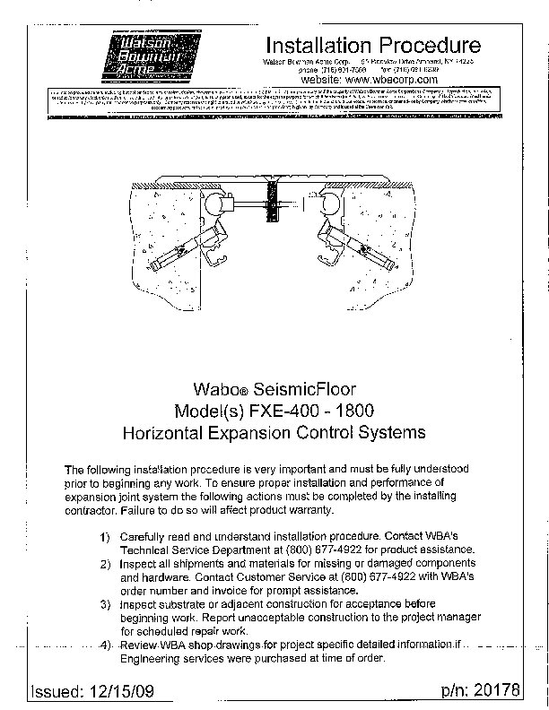 Wabo®SeismicFloor (FXE-400-1800) Installation Procedure Cover