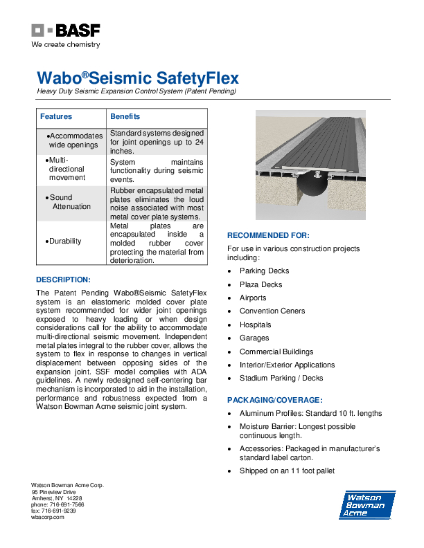 Wabo®Seismic SafetyFlex (SSF) Technical Data Sheet Cover