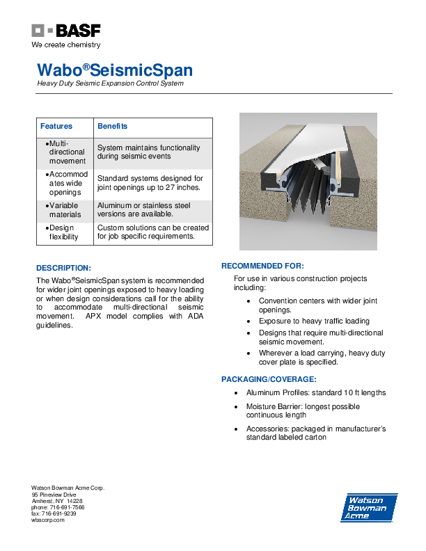 Wabo®SeismicSpan (APS, APX) Technical Data Sheet Cover