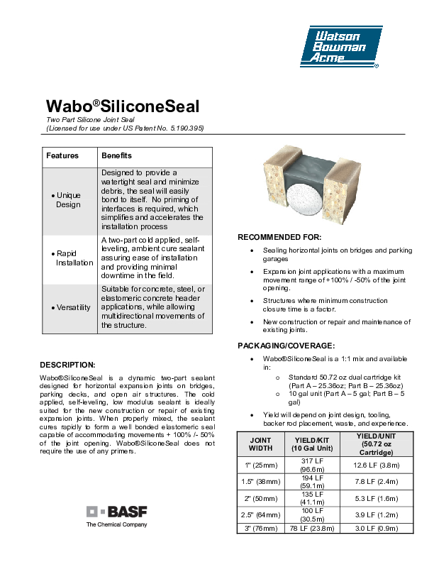Wabo®SiliconeSeal Technical Data Sheet Cover