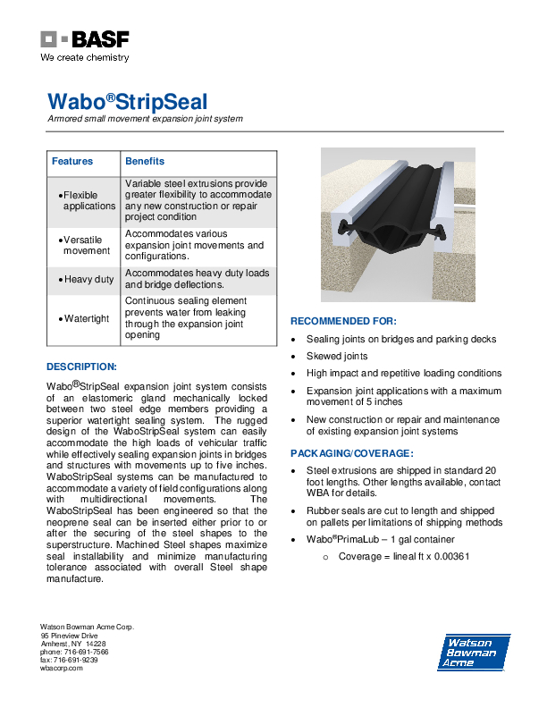 Wabo®StripSeal (SSS - Parking) Technical Data Sheet Cover