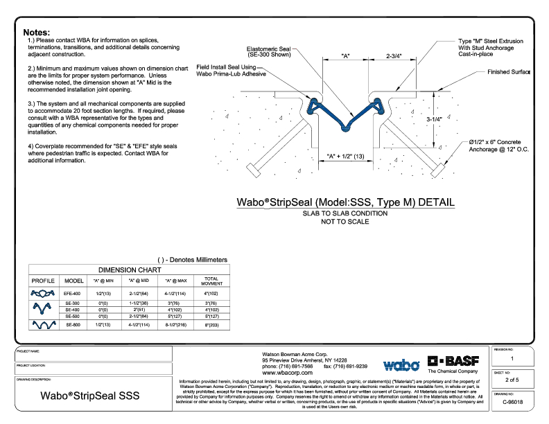 Wabo Strip Seal SSS C9601802 PDF Cover