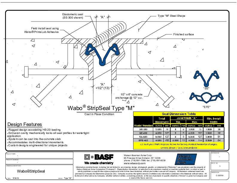 Wabo®StripSeal SSS (SE-800) CAD Detail Cover