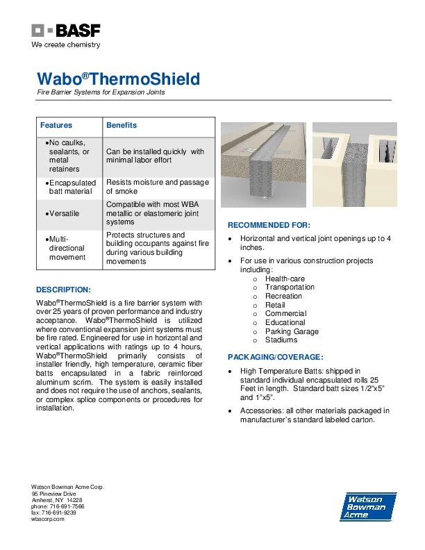 Wabo®ThermoShield (HTS, VTS) Technical Data Sheet Cover