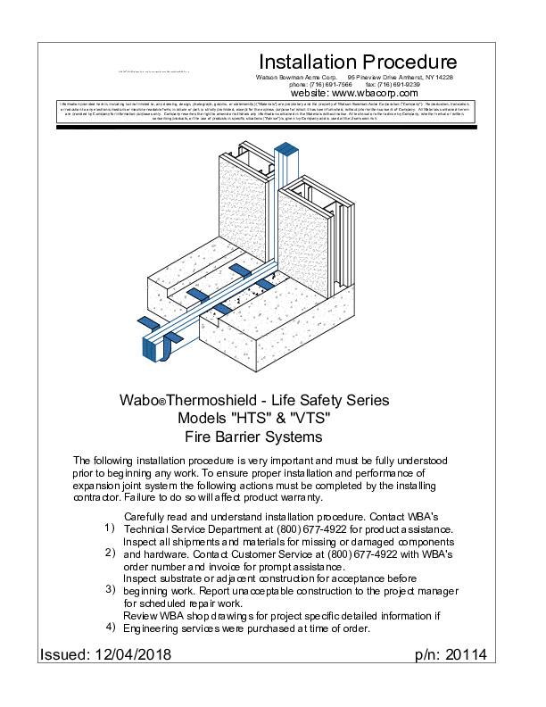 Wabo®ThermoShield (HTS, VTS) Installation Procedure Cover