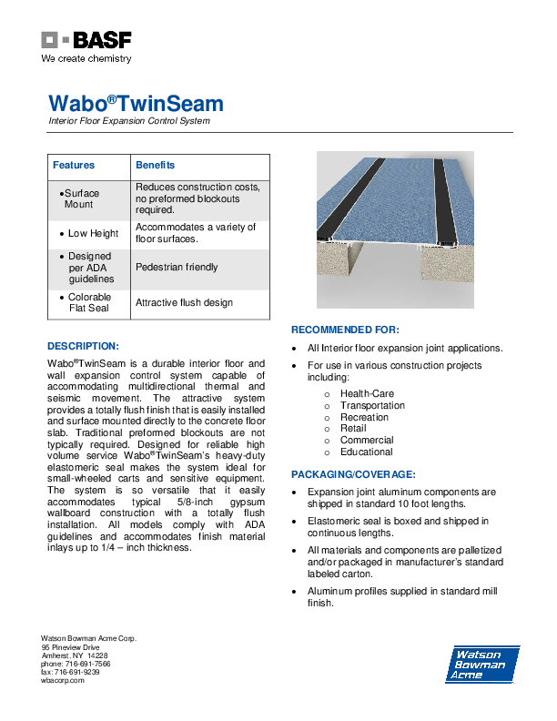 Wabo®TwinSeam (TSF) Technical Data Sheet Cover