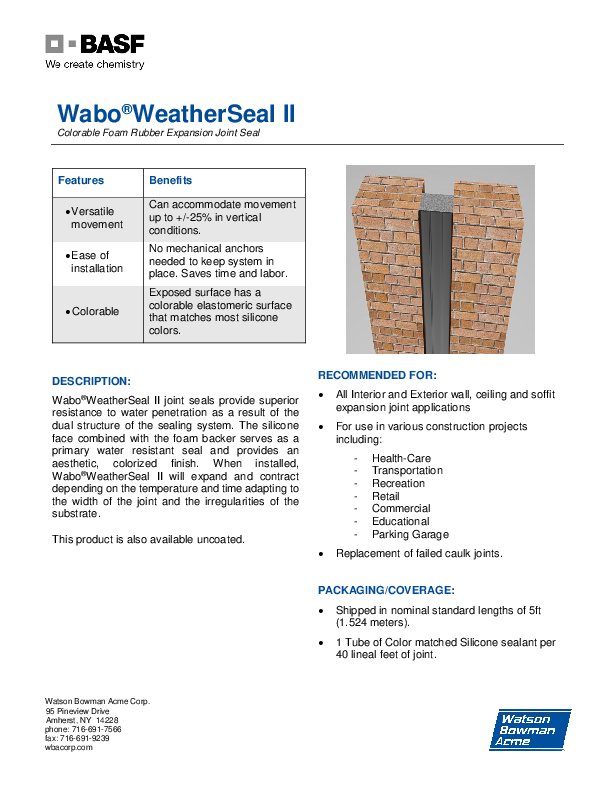 Wabo®WeatherSeal II (WS) Technical Data Sheet Cover