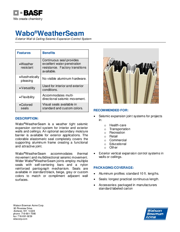 Wabo®WeatherSeam (WSC, WSE, WSW) Technical Data Sheet Cover