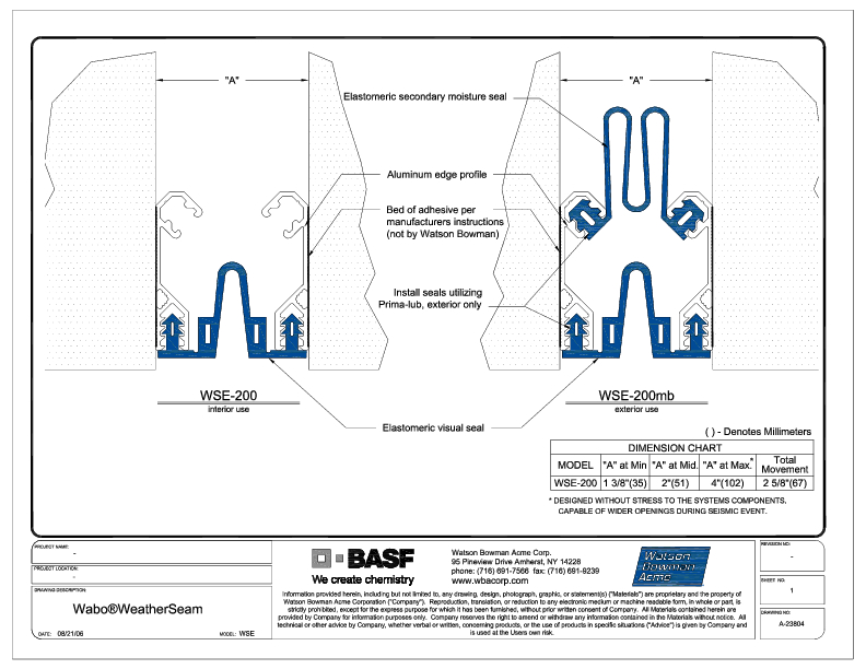 Wabo®WeatherSeam (WSE-200) CAD Detail Cover