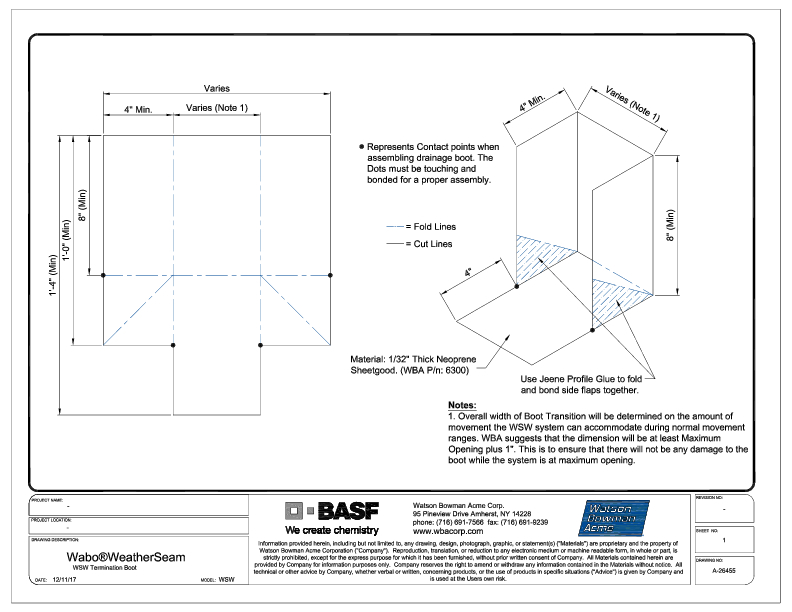 Wabo®WeatherSeam (WSW) Termination boot CAD Detail Cover